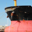 Bow of big red industrial cargo ship — Stock Photo #52563657