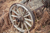 Old rural wooden wagon stands on dry grass — Foto Stock
