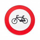 Bicycles traffic is prohibited, road sign isolated on white — Foto de Stock