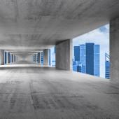 Abstract empty gray concrete 3d interior background — Stockfoto