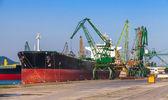 Big industrial cargo ship loading in port of Varna — Stock Photo