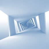 Abstract blue 3d background with twisted spiral corridor — Stock Photo