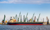 Loading with cranes of big industrial cargo ship in port of Varna — Stock Photo