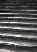 Vertical photo of dark stone stairway goes up — ストック写真