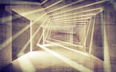 Abstract concrete 3d interior perspective with light beams — Stock Photo