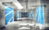Abstract concrete 3d interior perspective with grungy walls — Stockfoto