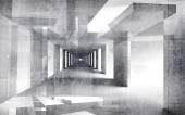 Abstract white concrete 3d interior perspective with grungy walls — Stockfoto
