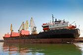 Big industrial cargo ship loading in Burgas port — Foto de Stock