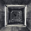 Abstract square dark concrete tunnel interior, 3d render background — Stock Photo #53689559