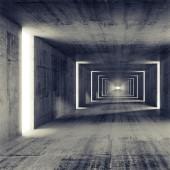 Abstract empty dark concrete tunnel interior, 3d render background — Stock Photo