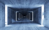 3d render, abstract empty blue concrete interior background — Stock Photo