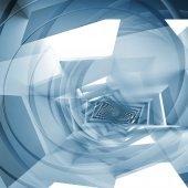 Resumen fondo cuadrado azul, patrón en espiral fantasía — Foto de Stock
