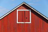 Classical Scandinavian architecture fragment, red wooden house — Photo