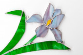 Stained glass hand-made iris flower on white background — Stock Photo