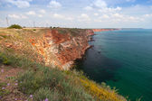 Coastal landscape of Kaliakra headland with cloudy sky. Bulgaria — Stock Photo