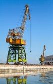 Grote industriële haven kranen werkt op de rivier kust — Stockfoto
