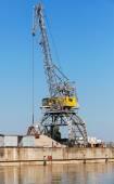 Grote industriële haven kraan werkt aan de kust van de rivier in bulgarije — Stockfoto