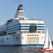 Silja Line ferry and small sailboat sail from port of Helsinki — Stock Photo #54965837