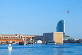 Barcelona port cityscape with modern buildings — Stock Photo