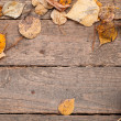 Background texture with wooden table and yellow autumnal leaves — Stock Photo #55364199