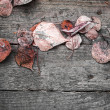 Background texture with old wooden table and red autumnal leaves — Stock Photo #55364201