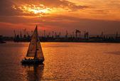 Segelbåt går i Varna harbor på solnedgången — Stockfoto