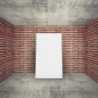 White blank banner in empty room interior with brick walls — Stock Photo #56580051