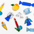 Colorful stained glass hand-made original decor items — Stock Photo #59767955