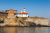 Lighthouse and wooden buildings on St. Anastasia Island — Stok fotoğraf