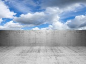 Abstract concrete 3d interior with cloudy sky — Stockfoto