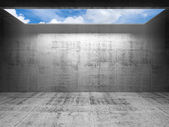 Abstract concrete 3d interior with sky in light portal  — Stockfoto