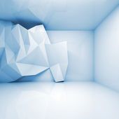 Abstract light blue 3d interior with polygonal relief — Stockfoto