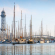 Port of Barcelona, Spain. Yachts, sailing boats — Stock Photo #60711165