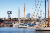 Yachts and sailing boats are moored in Barcelona, Spain — Stock Photo