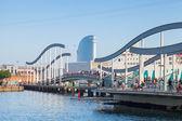 Vista port view with walkway Bridge in Barcelona — Stock Photo
