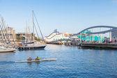 Twin racing rowing boat goes in Vista port harbor of Barcelona — Stock Photo