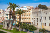 Tangier, Morocco. Street view with palm trees — Stock Photo