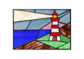 Handmade stained glass composition with abstract coastal landscape and lighthouse — Stock Photo
