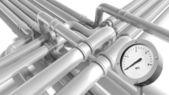 Pipeline fragment with zero pressure manometer indication — Stock Photo