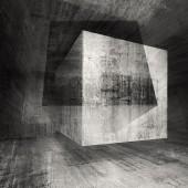 Dark concrete room 3d background illustration with cubes — Fotografia Stock