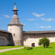 Stone tower and walls with wooden roofs of old fortress — Stock Photo #63727747