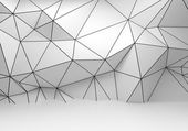 Abstract white 3d interior, polygonal wireframe wall — Stock Photo