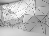 Abstract white 3d interior, polygonal wire-frame wall — Stock Photo