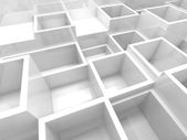 Empty 3d interior fragment with white square cells — Stockfoto