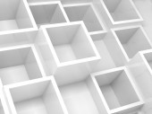 3d interior fragment with white square cells on the wall — Stockfoto