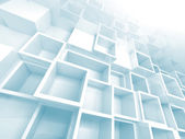 3d background with white and light blue empty shelves — Stockfoto