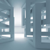 Abstract empty 3d blue modern interior with chaotic cubes — Stock Photo