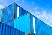 Blue metal Industrial cargo containers are stacked — Stock Photo