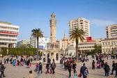Konak Square with crowd of tourists, Izmir, Turkey — Stock Photo