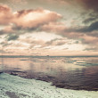 Winter coastal landscape with floating ice. Gulf of Finland — Stock Photo #65690645